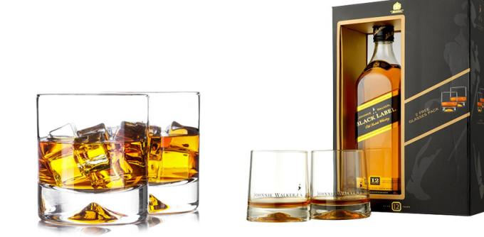 Classic Whiskey Promotional Drinking Glasses With Printing / Sandblasting Logo 1